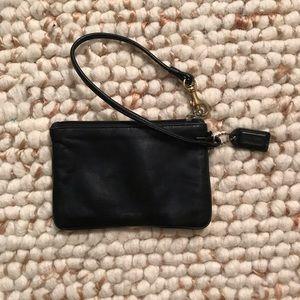 Coach black leather original wristlet